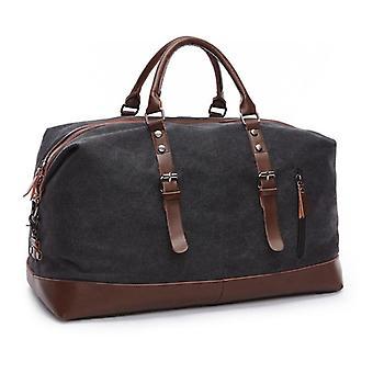 Fashion Canvas Travel Bag Läder Stor kapacitet Vintage Bagageväskor