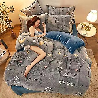 Double-sided Snowflake Velvet Warm Quilt Cover, Pillowcase Winter Comforter