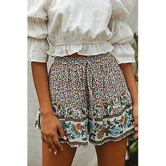 Weiße Floral Print A-Linie elastische Taille Sommer Boho Shorts