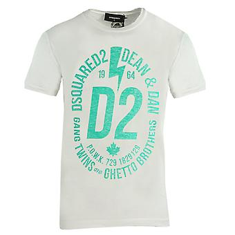 Dsquared2 Chic Dan Fit Grande D2 Logotipo T-Shirt Branca