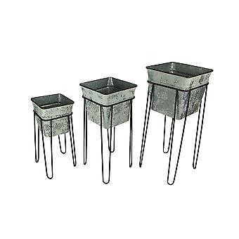 Set of 3 Weathered White Square Metal Tub Planters On Stands
