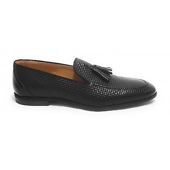 Lenny Men's Loath in Braided Leather With Black Hole and Pendagli Us20el13