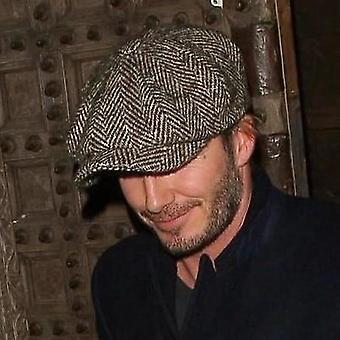 Men Herringbone Flat Gatsby Cap Woolen Golf Driving Hat