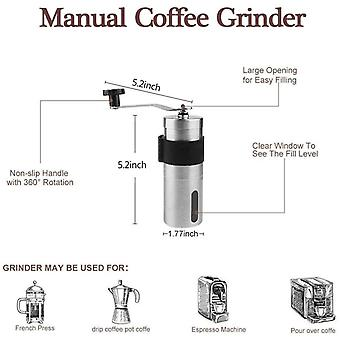 DZK Manual Coffee Grinder, Mini Size for Carry,Hand Coffee Grinder with Adjustable Setting,Brushed