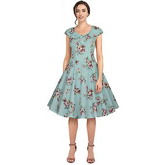 שיק כוכב קפלים רטרו שמלה בצבע תכלת / פרחוני