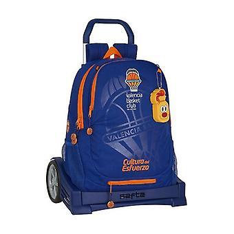 School Rucksack with Wheels Evolution Valencia Basket Blue Orange