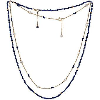 Pearls of the Orient Clara Lapis Lazuli Fine Double Chain Necklace - Blue