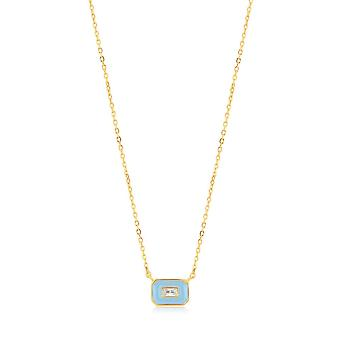 Ania Haie Powder Blue Enamel Emblem Gold Necklace N028-02G-B