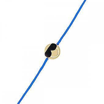 Smiley yellow vermeil cord bracelet and blue cord 'apos;Cool'apos;
