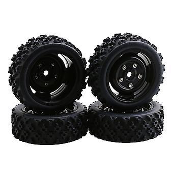 4x RC1: 10 modell kjøretøy deler sekskantet hjul felger 12mm gummi dekk svart