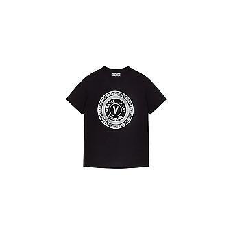 Versace Jeans Couture Cotton Rubberised Logo Black T-shirt