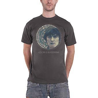 George Harrison Mens T Shirt Grey Circular Portrait Mosaic Print Official