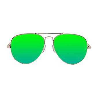 Ocean Sunglasses Banila Aviator, Metal Sunglasses, Frame: Golden, Lenses: Mirrored Greens, 3701.1