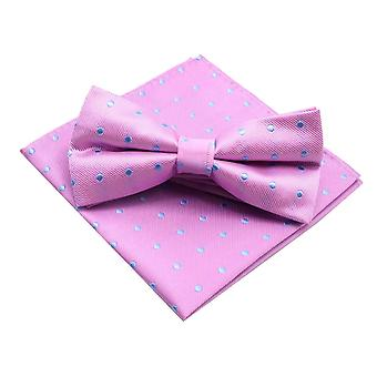 Bright pink & blue polka dot bow tie & pocket square