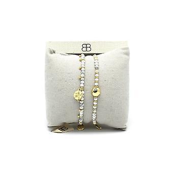 Boho betty tangier 2 white & gold layered bracelet stack