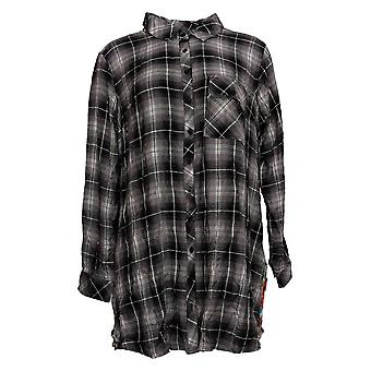 Tolani Collection Women's Plus Top Plaid Tunic with Print Back Black A383438