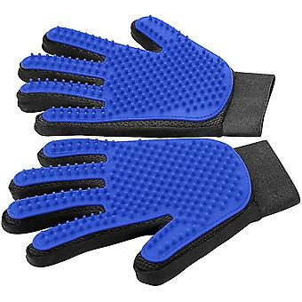 Pet Hair Remover Glove,pet Grooming Glove,gentle Deshedding Brush Glove 1 Pair(Blue)