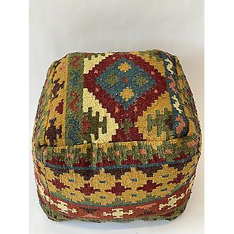 Spura Home Handmade Knitted Pouf-Square Wool Pouf Ottoman