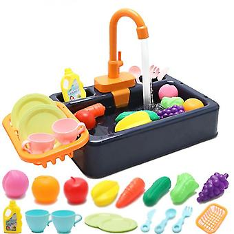Changing Kitchen Sink Toys, Children Electric Dishwasher Playing Toy With Running Water