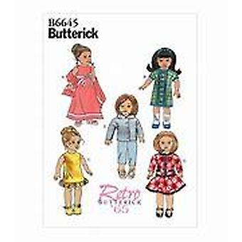 "Butterick ompelu kuvio 6645 18"" nukke vaatteet retro nukke vaatteet yksi koko"