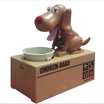 Niedliche Welpen Hund Sparschwein Spardose Spargeld sparen Topf Münzbox Kann elektronisches Sparschwein Kinder Kinder Weihnachtsgeschenke (braun)