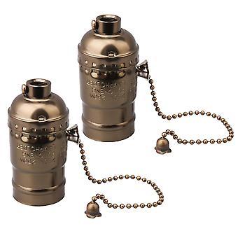 Lamps 2 pcs ac110-240v e27 vintage aluminum chain lamp holder bronze