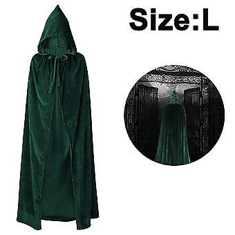 ユニセックス大人のハロウィーンクロークとフード長い魔女の衣装、110cm