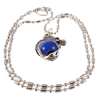 Rodio Dragon Orb in marmo blu scuro ciondolo collana di perline