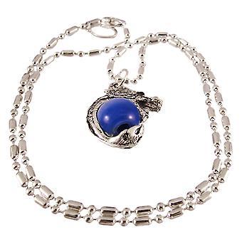 Rhodium Dragon Dark Blue Marble Orb Pendant Bead Necklace