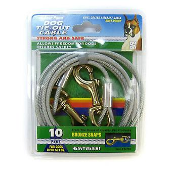 Four Paws Dog Tie Out Cable - Heavy Weight - Black - 10' Long Cable
