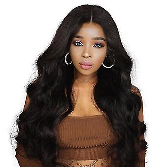 Ladies Black Medium Split Big Wave Long Curly Hair Synthetic Fiber Wig Set