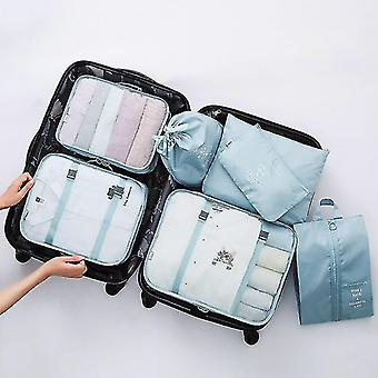 Packing organizers 7 piece set of luggage packing travel organizer cubes and pouches sky blue