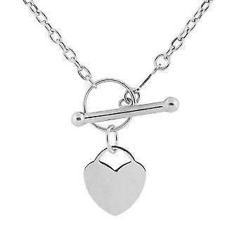 TJC 9K White Gold T-Bar Heart Necklace for Womens 18 '' in Glossy Finish