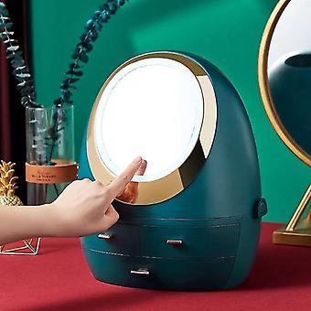 Modern lyxig makeup- och smyckesförvaringsarrangör med inbyggd spegel och led-ljus(Led