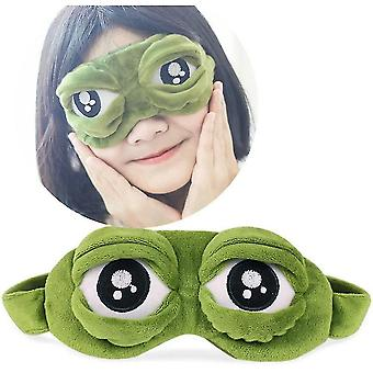 Qianカエル睡眠アイマスク面白い目隠しヘアクラスプヘアバンド睡眠休憩