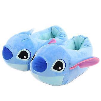 Stitch Симпатичные плюшевые тапочки Теплая зима Крытый аниме тапочки для любителей бесплатный размер 28см