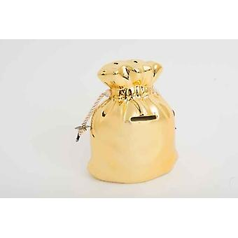 Large Ceramic Gold Bag With Rope Ties Money Saving Box