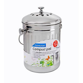 Eddingtons Deluxe 4.4L Compost Pail, Stainless Steel