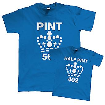 Pint and Half Pint, Funny T Shirt - Father, Son, Daughter, Gift for Dad