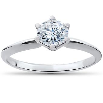 1 / 2ct Solitaire Diamond Engagement Ring 14K White Gold