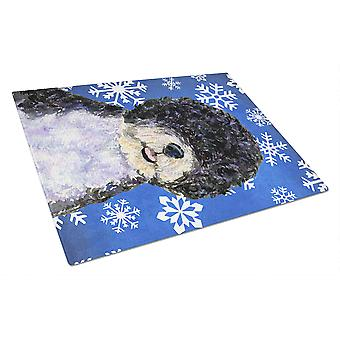 Portuguese Water Dog Winter Snowflakes Holiday Glass Cutting Board Large
