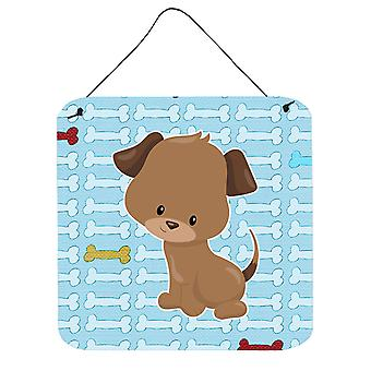 Carolines schatten BB7079DS66 Puppy op blauwe botten muur of deur hangen Prints