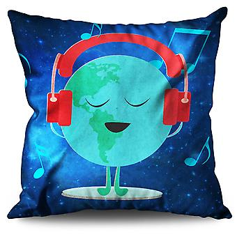 Earth day Headphone Linen Cushion 30cm x 30cm | Wellcoda
