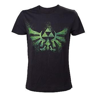 Nintendo Legend Of Zelda volwassen mannelijke nood groene koninklijk wapen T-Shirt Extra Extra Large Zwart (TS240920NTN-2XL)