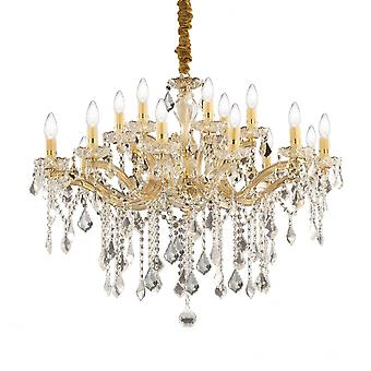 Ideal Lux Florian ouro 18 Metal e claro cristal lustre luz luz