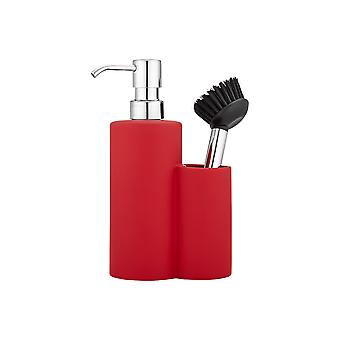 Ladelle Soft Matt Red Soap Dispenser and Brush