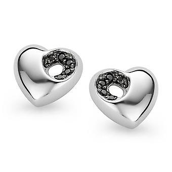 Orphelia Silver 925 Earring Heart Black Zirconium   ZO-5021