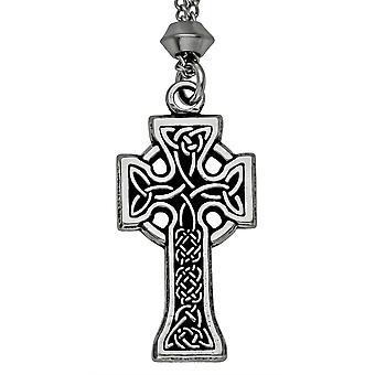 Fatto a mano Celtic knotwork Triquetra irlandese Croce peltro ciondolo #3