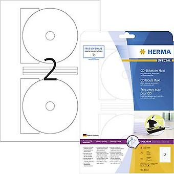 Herma CD labels 5115 Ø 116 mm Paper White 50 pc(s) Permanent Opaque, Fully writable Inkjet, Laser