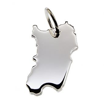 Trailer map Sardinia pendant in solid 925 Silver